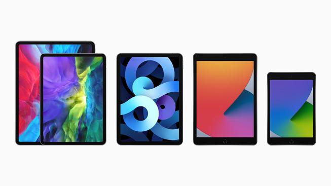 iPad 产品系列的四款机型。