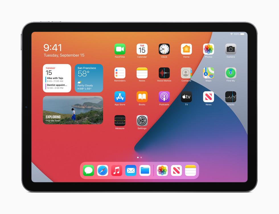 iPad Air 上重新设计的小组件。