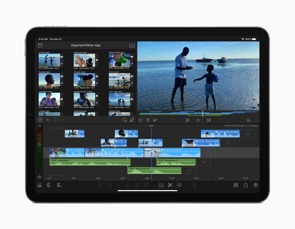展示在 iPad Air 上进行 4K 视频剪辑的显示屏。