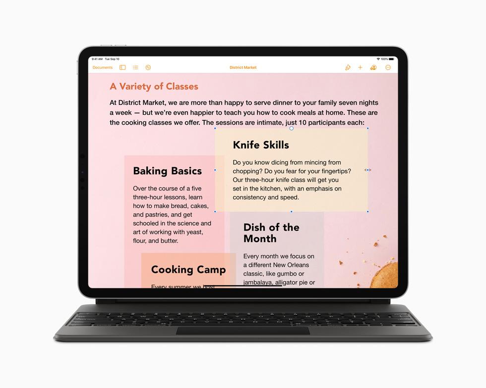 搭配妙控键盘的新款 iPad Pro 上运行的 Pages 文稿 app。