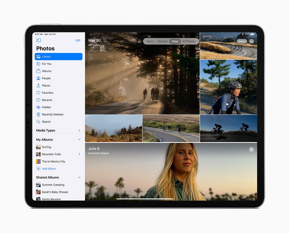 iPad Pro 上展示照片 app 的边栏。