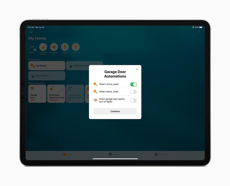 iPad Pro 上展示家庭 app。