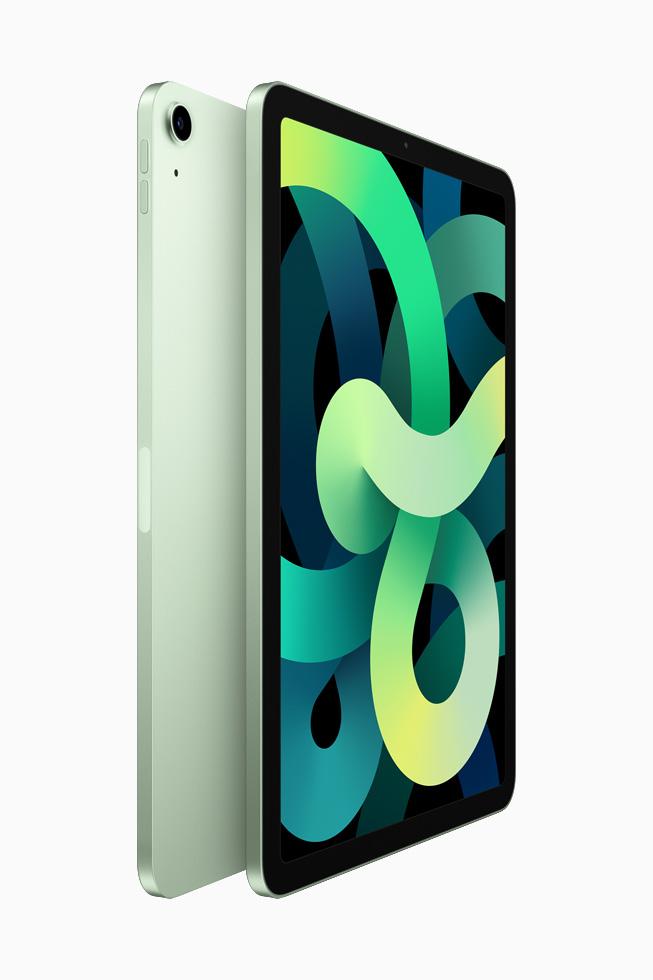 两部绿色 iPad Air 背靠背展示。