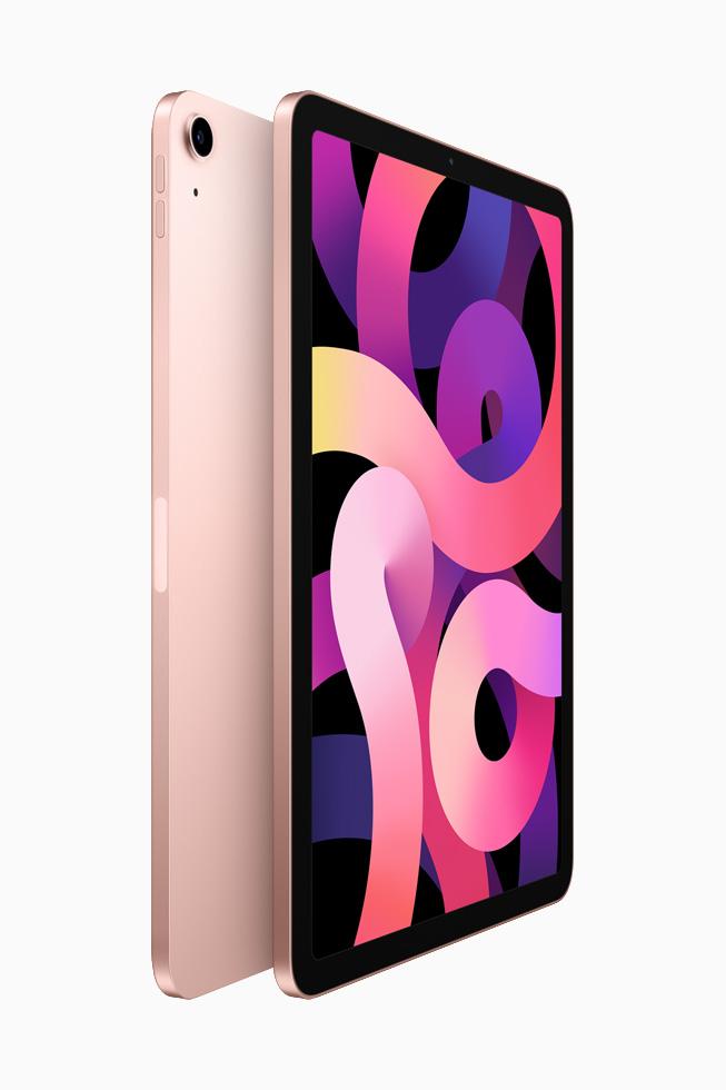 两部玫瑰金色 iPad Air 背靠背展示。
