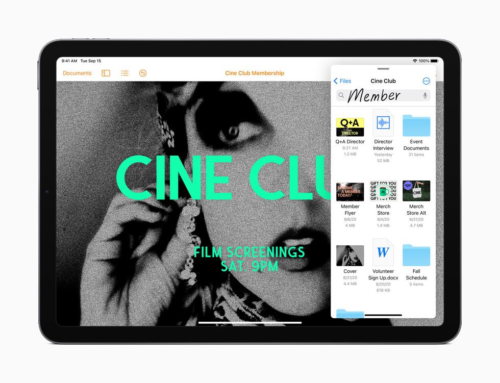 iPad Air 展示备忘录 app。