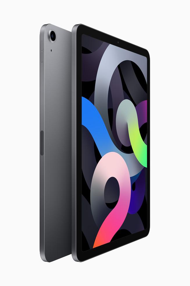 两部深空灰色 iPad Air 背靠背展示。