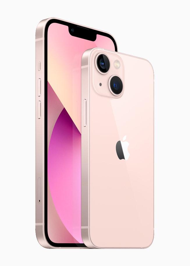 粉色 iPhone 13 和 iPhone 13 mini 的正面和背面。
