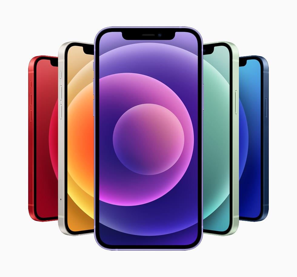 蓝色、绿色、白色、红色及紫色的 iPhone 12 和 iPhone 12 mini。