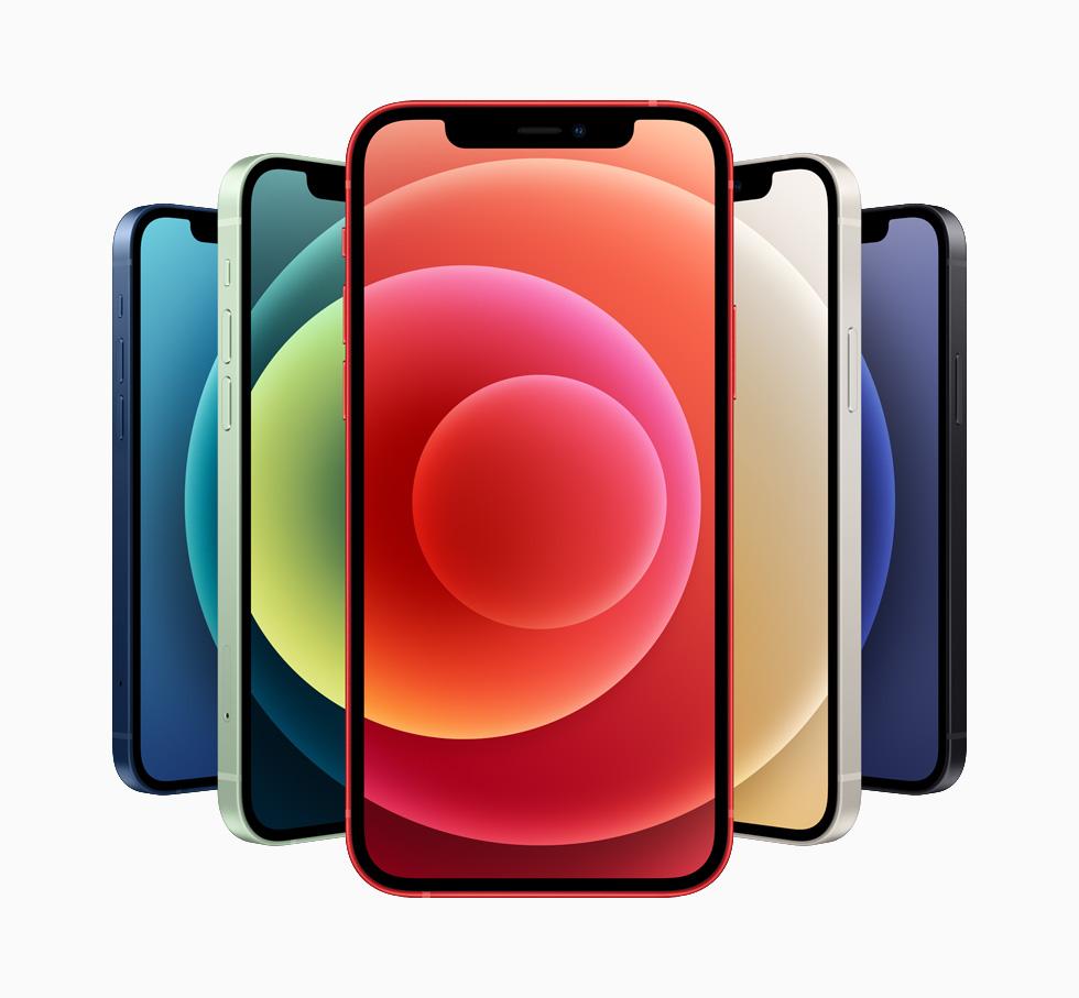 iPhone 12 提供蓝色、红色、白色、绿色和黑色五种铝金属外观。