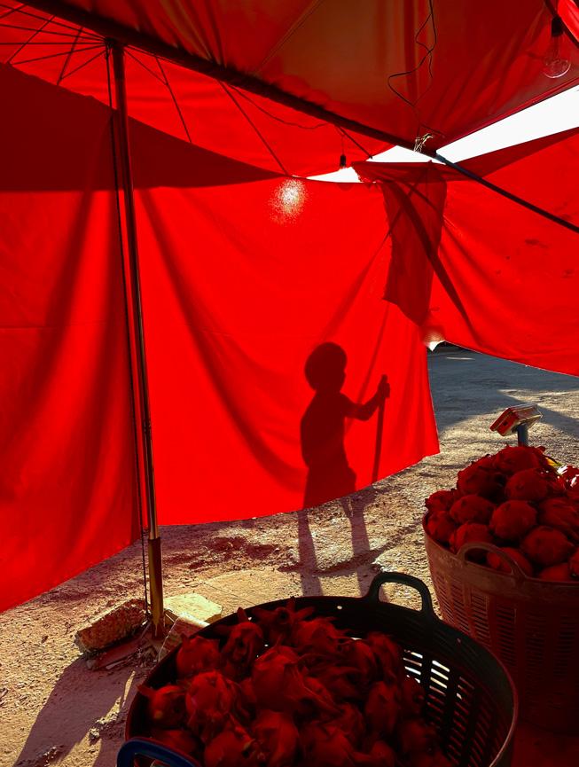 一块用于遮阳的红色防水布衬托出一个孩子正在玩耍的阴影。