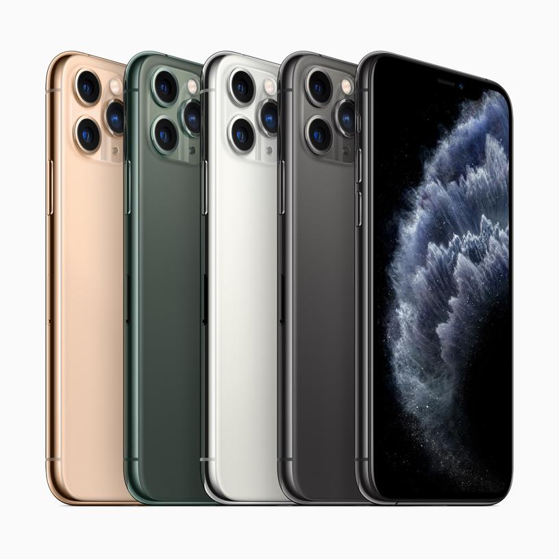 iPhone 11 Pro 提供暗夜绿色、深空灰色、银色和金色外观。