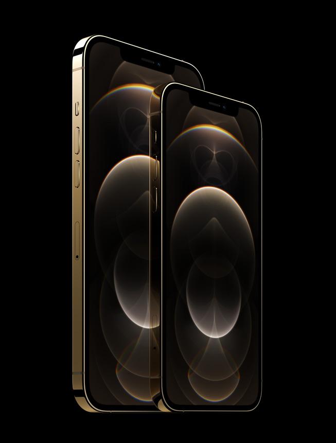 金色不锈钢外观的 iPhone 12 Pro 和 iPhone 12 Pro Max。