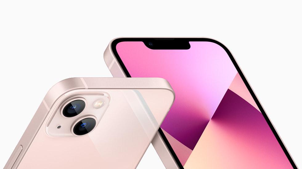粉色 iPhone 13 的原深感摄像头系统和后置摄像头全新布局