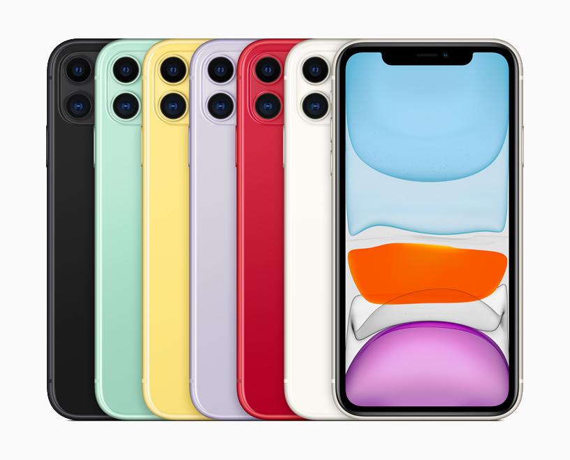 iPhone 11 的六种外观。