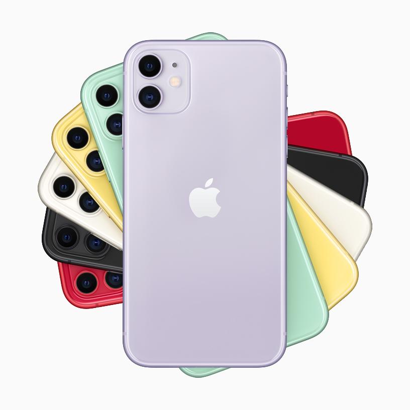 整齐叠放的 iPhone 11,共有六种外观。