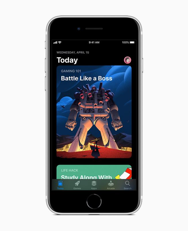 "iPhone SE 上 App Store 的""Today""页面。"