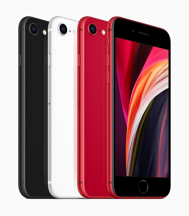 黑色、白色和红色 iPhone SE。