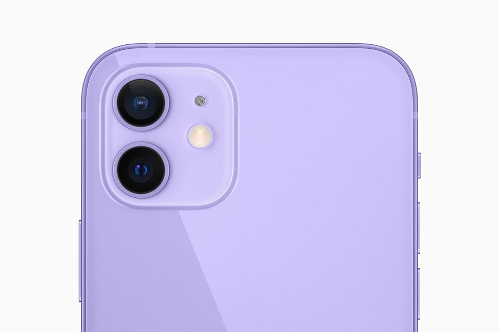 紫色 iPhone 12 上的双摄系统。