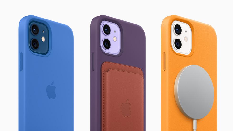 iPhone 12 MagSafe 硅胶保护壳、MagSafe 皮革卡包和 MagSafe 双项充电器。