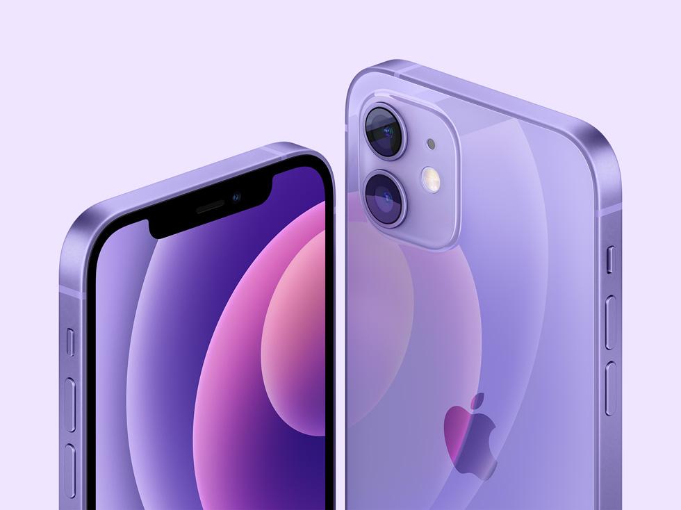 紫色的 iPhone 12 和 iPhone 12 mini。