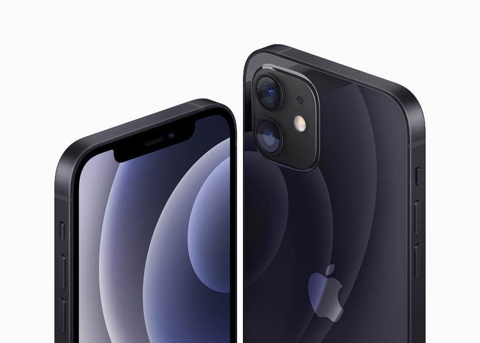黑色铝金属外观的 iPhone 12 和 iPhone 12 mini。