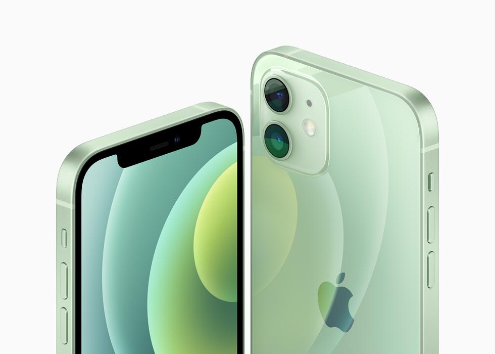绿色铝金属外观的 iPhone 12 和 iPhone 12 mini。