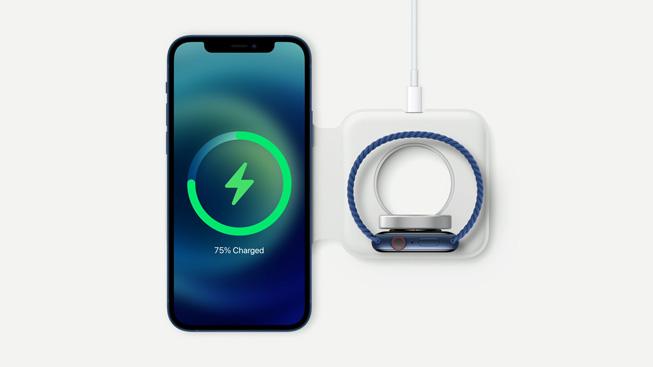 适用于 iPhone 和 Apple Watch 的全新 MagSafe 双项充电器。