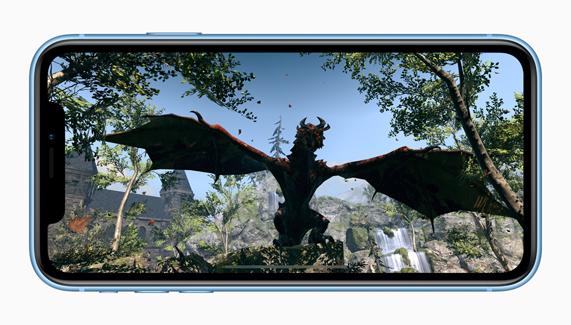 iPhone XR 上的增强现实体验。