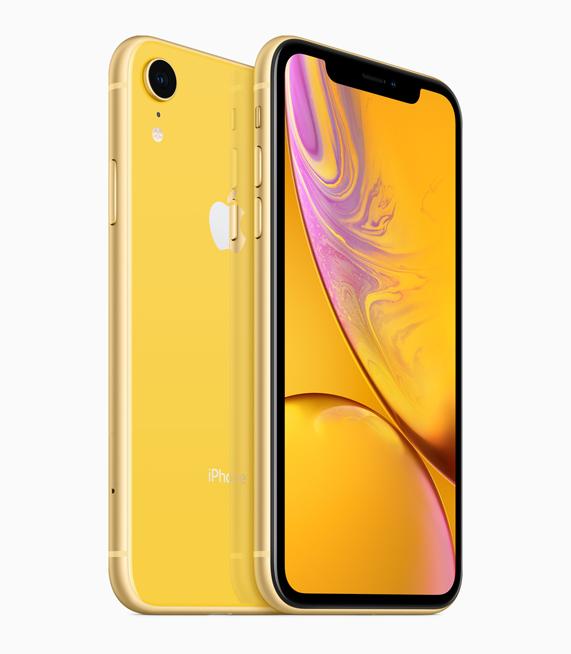 iPhone XR 黄色外观。