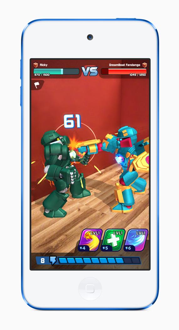 iPod touch 上演示的一款机器人大战游戏。
