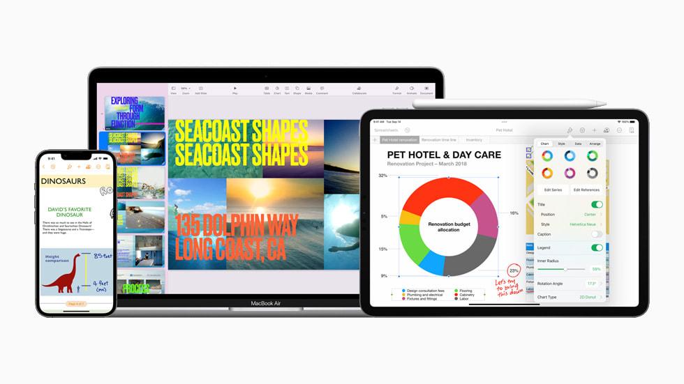 iPhone 13 上显示的新版 Pages 文稿、MacBook Air 上显示的 Keynote 讲演、iPad 上显示的 Numbers 表格。