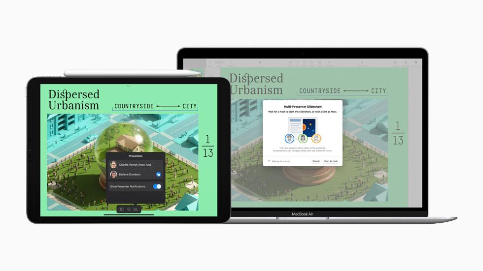 iPad 与 MacBook Air 在 Keynote 讲演中展示多演讲者选项。