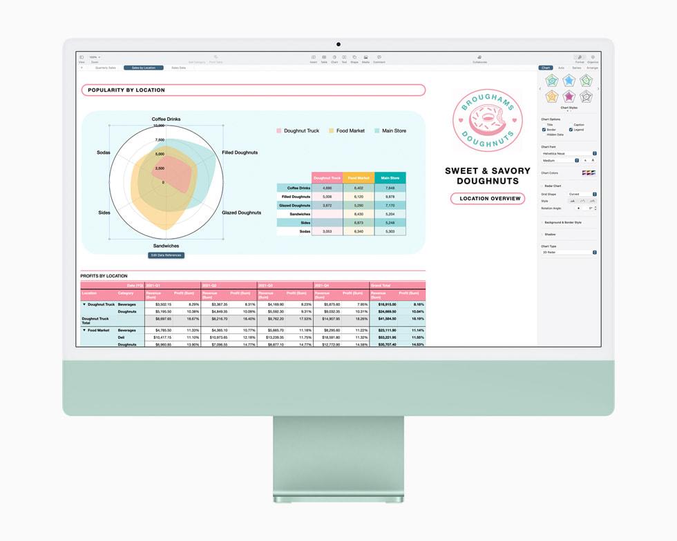 MacBook Air 显示的 Numbers 表格中的雷达图。
