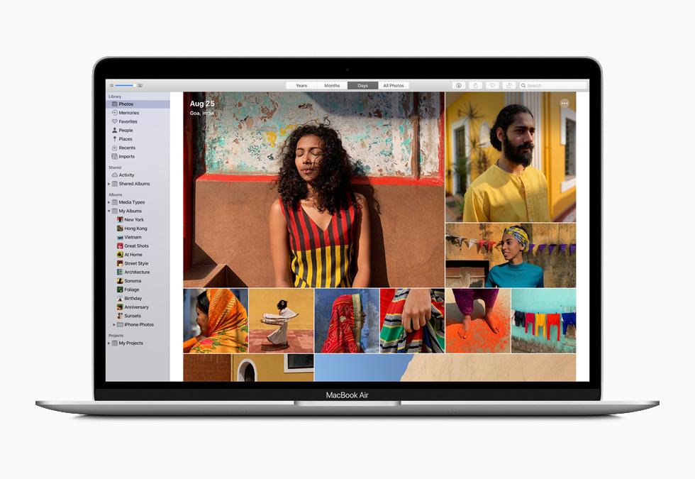 新款 MacBook Air 上的照片图库。