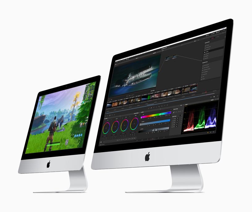 21.5 英寸 iMac 和 27 英寸 iMac 并排摆放。