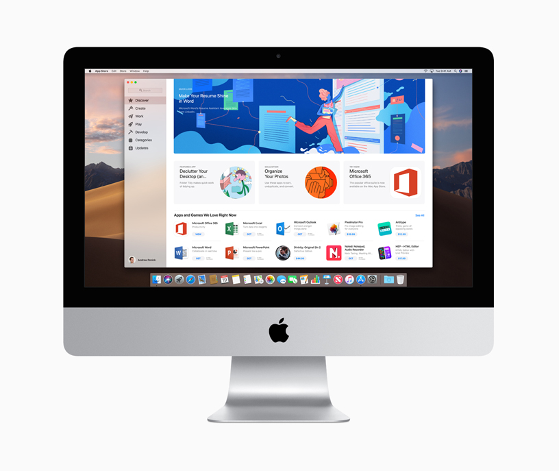 iMac 上的 Mac App Store。