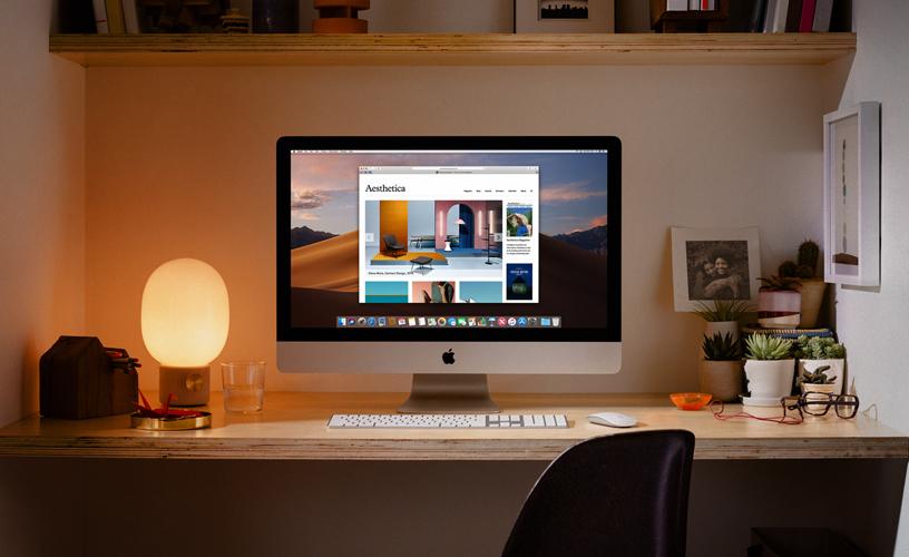 使用 iMac 的家庭办公室。