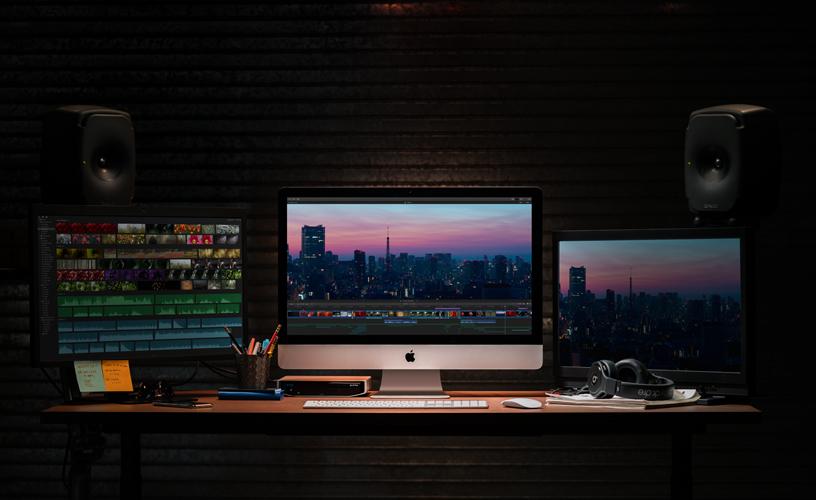 使用 iMac 的专业工作室。