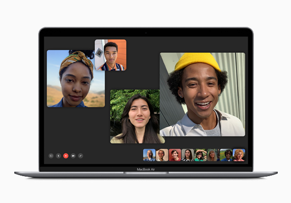 MacBook Air showing Group FaceTime call.