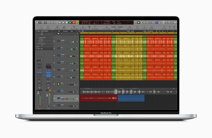 MacBook Pro 上的 Logic Pro X 界面。