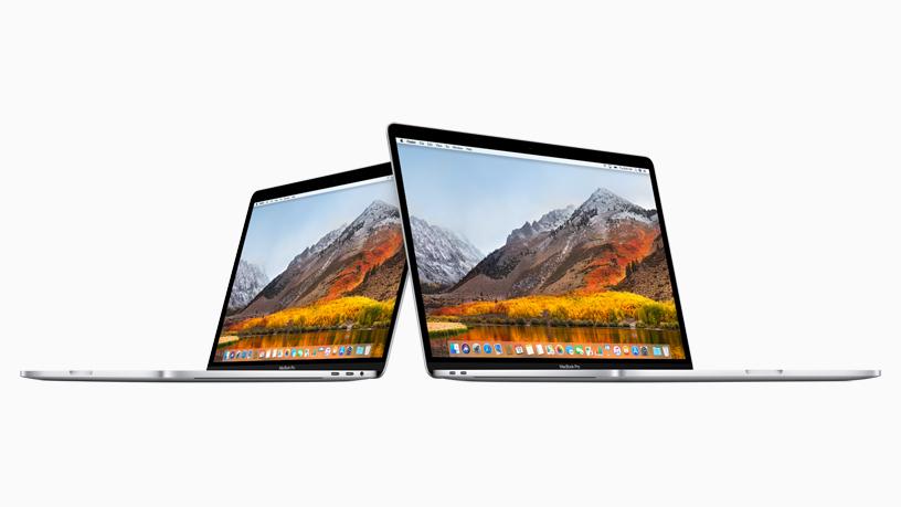 13 英寸 MacBook Pro 与 15 英寸 MacBook Pro 并排展示。