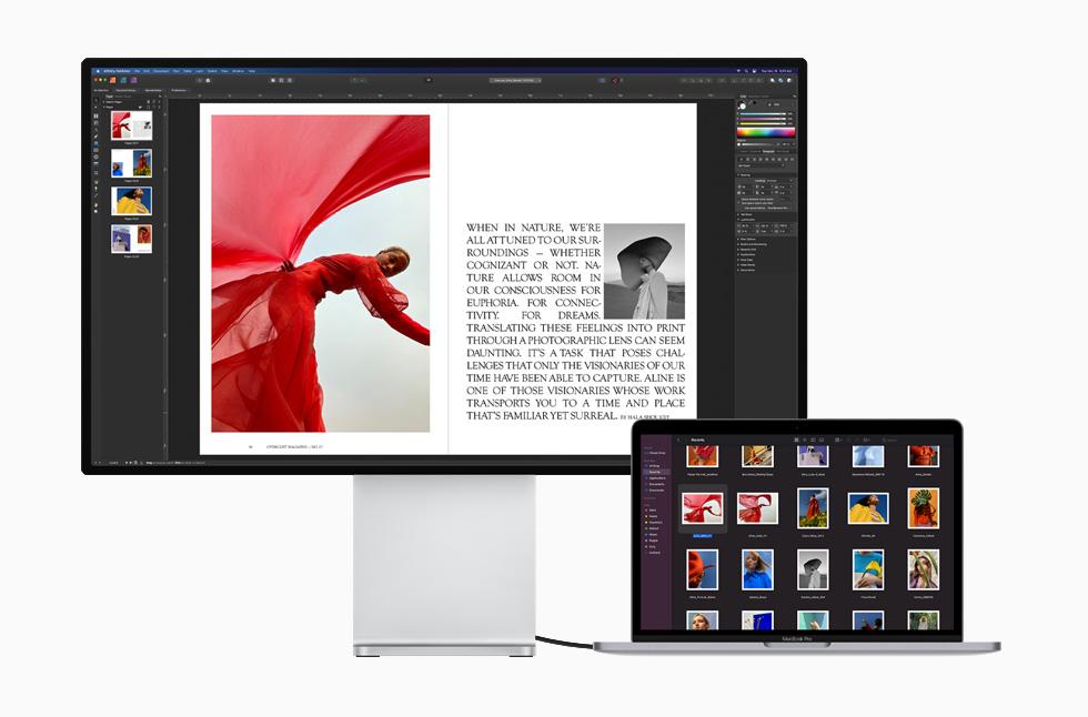 雷雳控制器将 MacBook Pro 连接至 Pro Display XDR。
