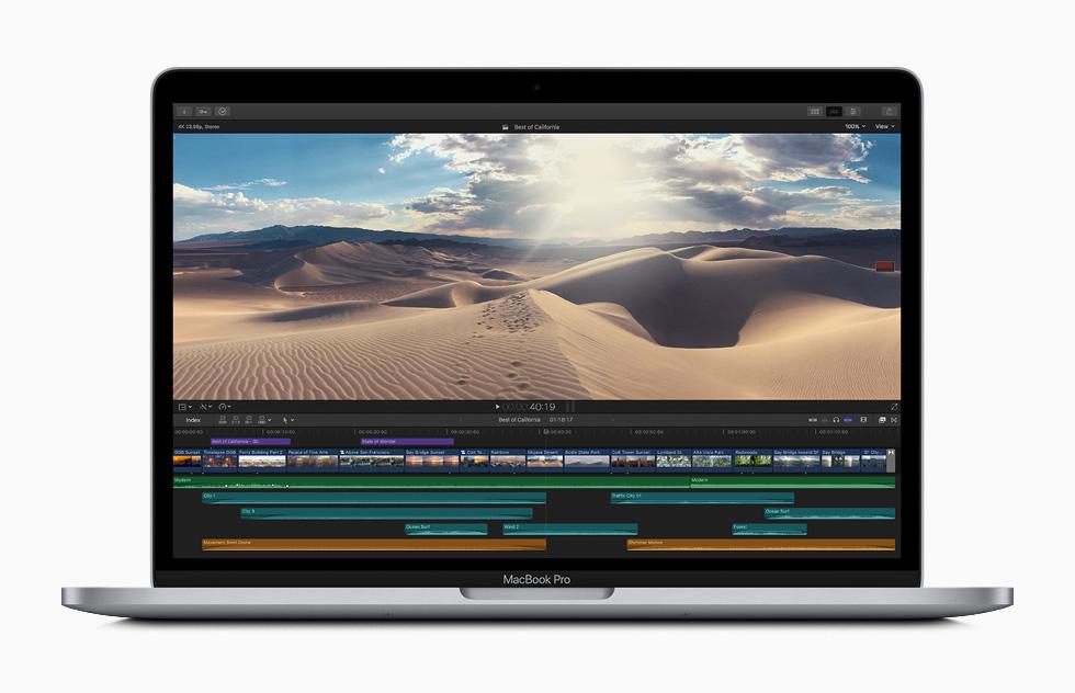 MacBook Pro 上显示 Final Cut Pro X 视频编辑界面。