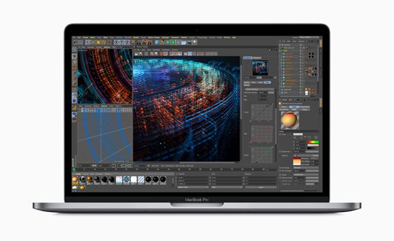 MacBook Pro 屏幕显示正在渲染三维模型。