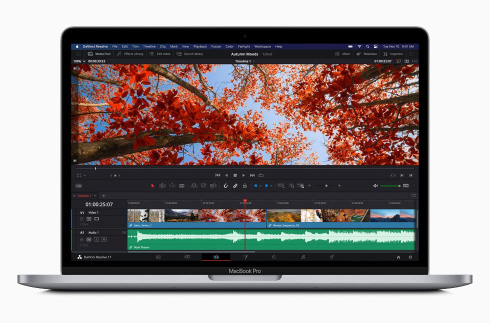 MacBook Pro 上的 DaVinci Resolve 软件。