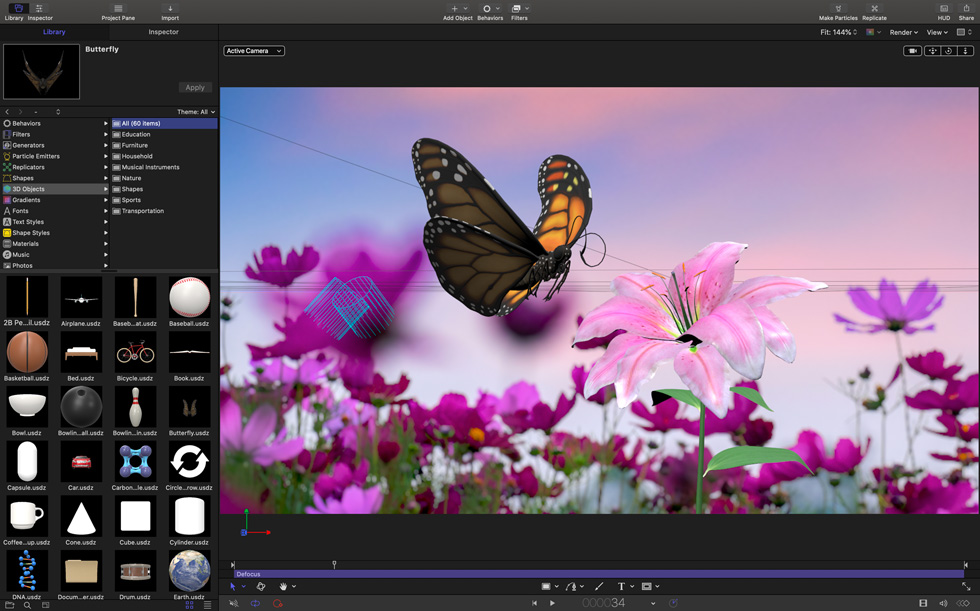 Final Cut Pro 中的 Motion 3D 内容资源库。