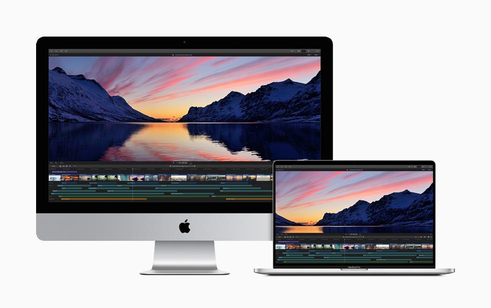 iMac 和 16 英寸 MacBook Pro 上显示代理工作流程。