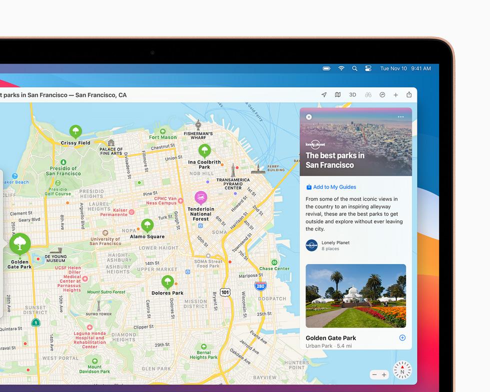 MacBook Pro 上显示地图 app 中旧金山的城市指南。