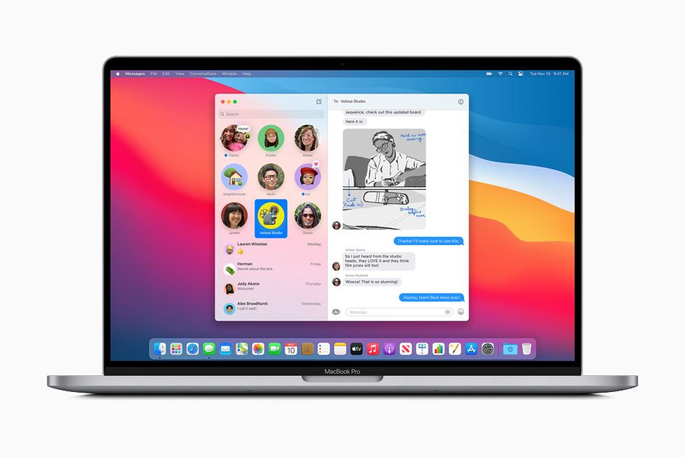 MacBook Pro 上显示信息 app 中的置顶对话。