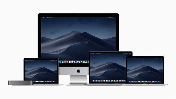 多种型号的 Mac 笔记本和全新深空灰色 Mac mini 及 Mac 台式电脑。